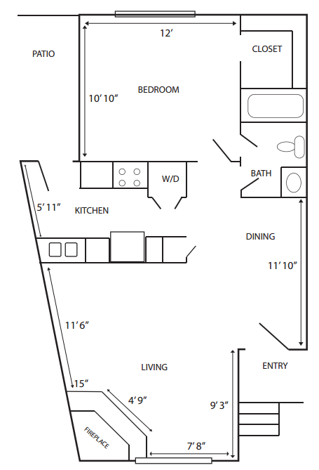 714 sq. ft. G-A2 floor plan