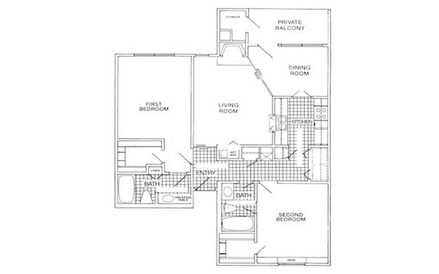 1,027 sq. ft. E floor plan