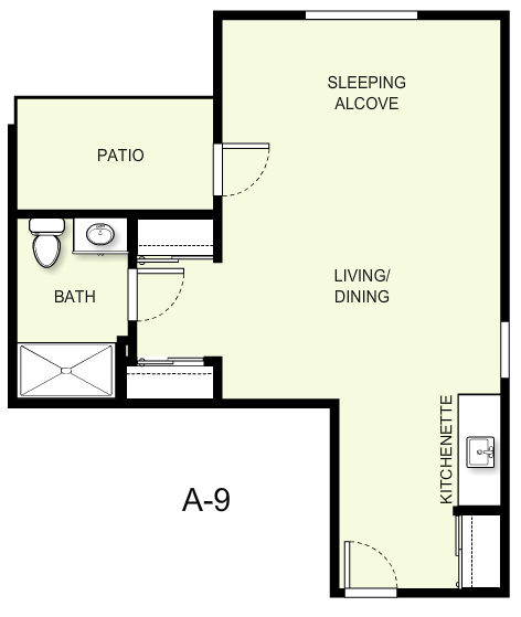 529 sq. ft. A9 floor plan