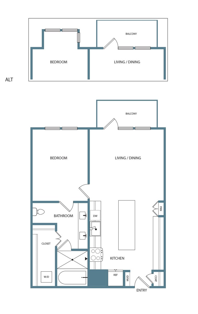 861 sq. ft. A3 floor plan