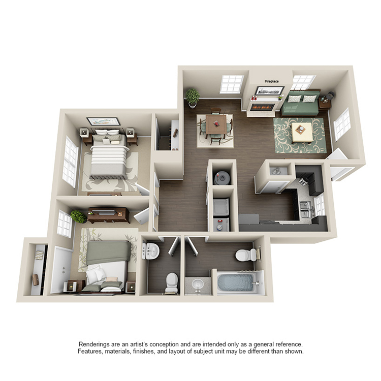 803 sq. ft. C floor plan