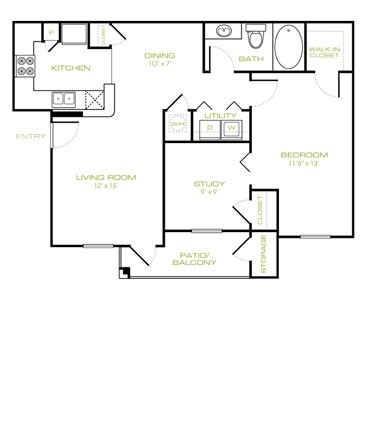 814 sq. ft. B floor plan