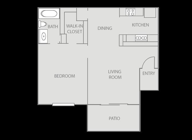 625 sq. ft. Windsor/80% floor plan
