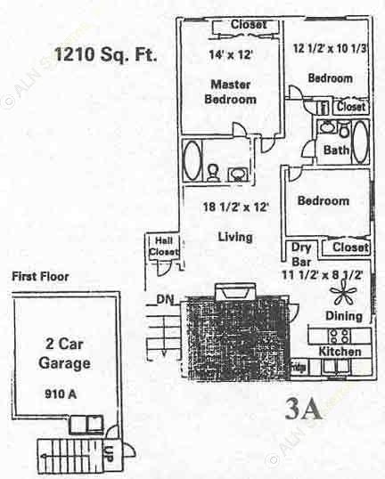 1,210 sq. ft. C1 floor plan
