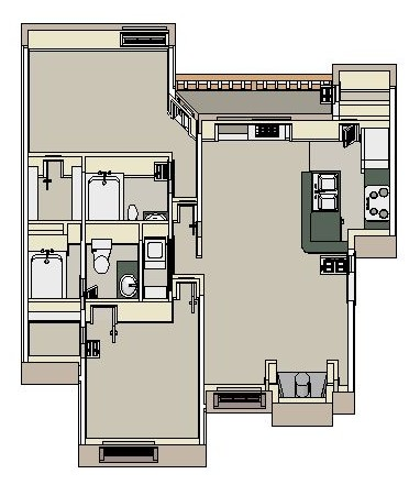 1,018 sq. ft. B2 floor plan