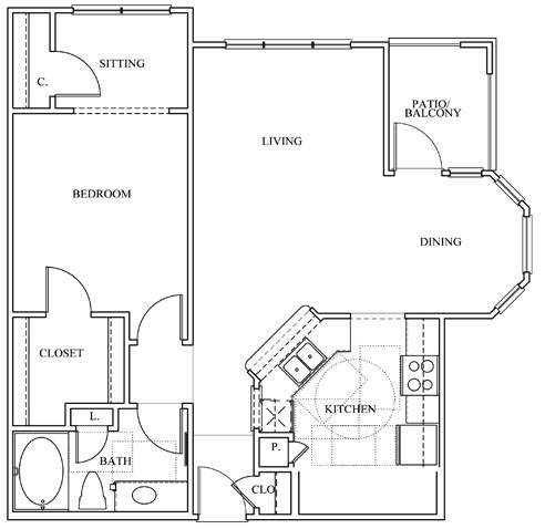 868 sq. ft. 11F floor plan