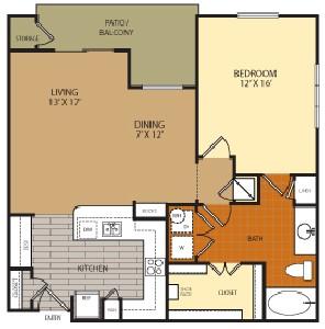 918 sq. ft. A5 floor plan