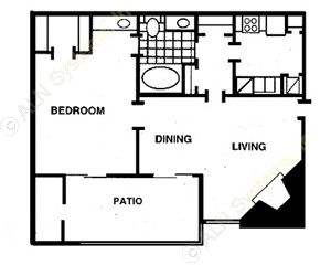 670 sq. ft. B floor plan