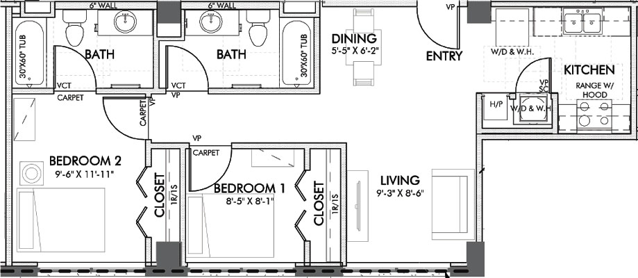744 sq. ft. Lancaster.2 60% floor plan