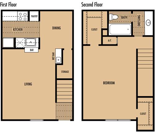 810 sq. ft. C floor plan