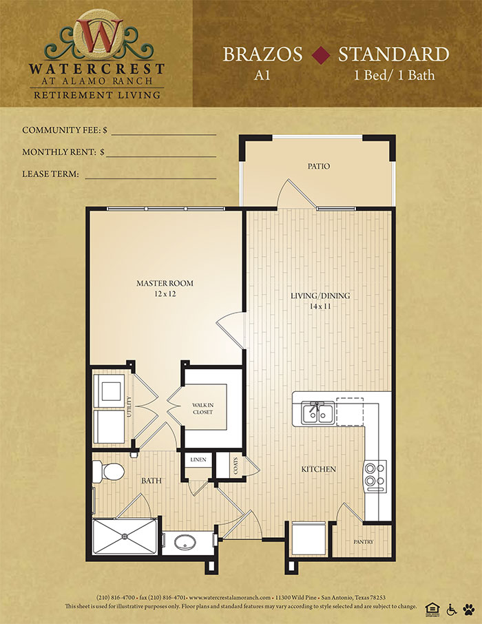 860 sq. ft. Brazos floor plan