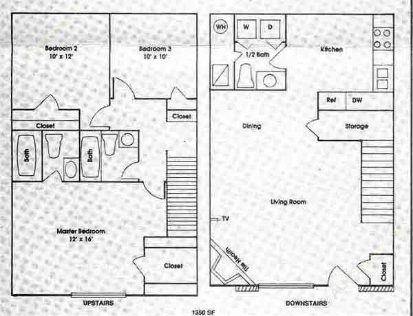 1,350 sq. ft. 3B floor plan