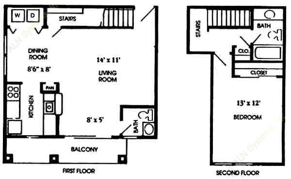 792 sq. ft. A5 floor plan