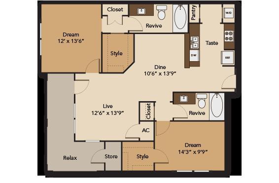 1,115 sq. ft. GARDEN B2 floor plan