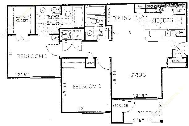 942 sq. ft. to 998 sq. ft. B1 floor plan