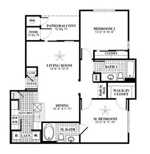 1,010 sq. ft. B3 floor plan