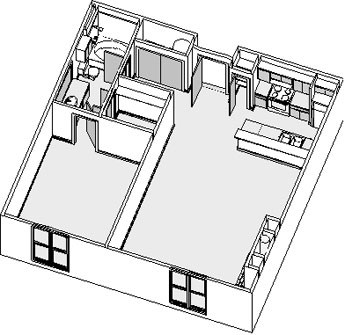 884 sq. ft. to 888 sq. ft. floor plan