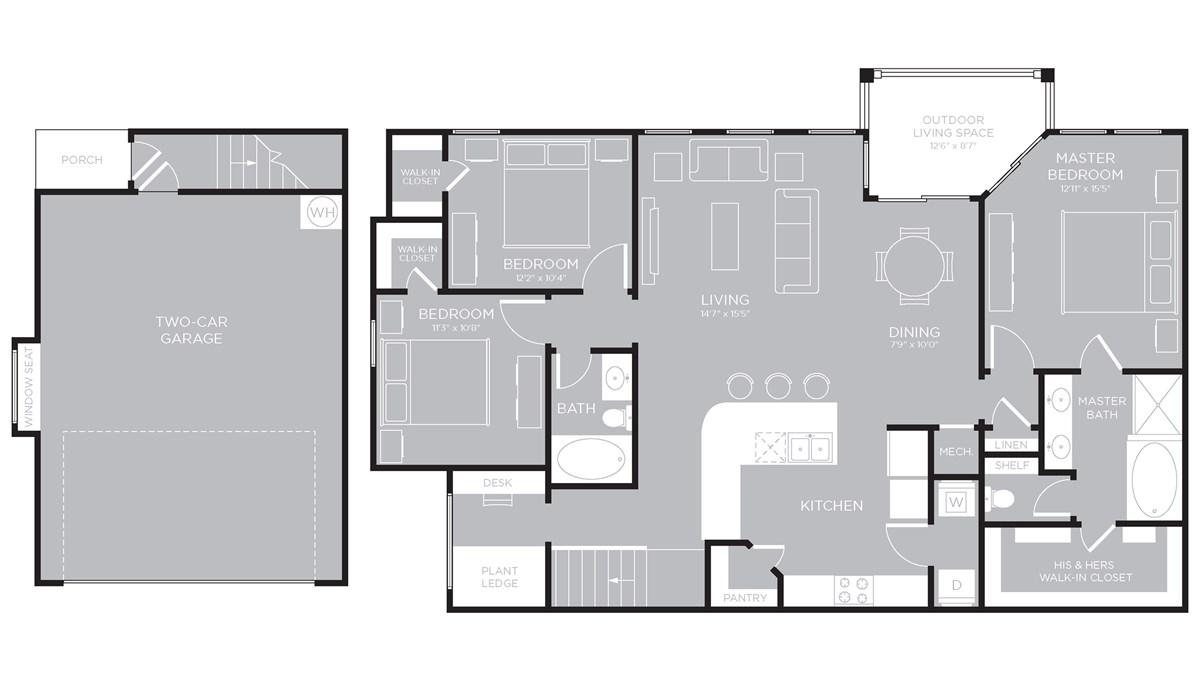 1,578 sq. ft. Lady Bird C2 floor plan