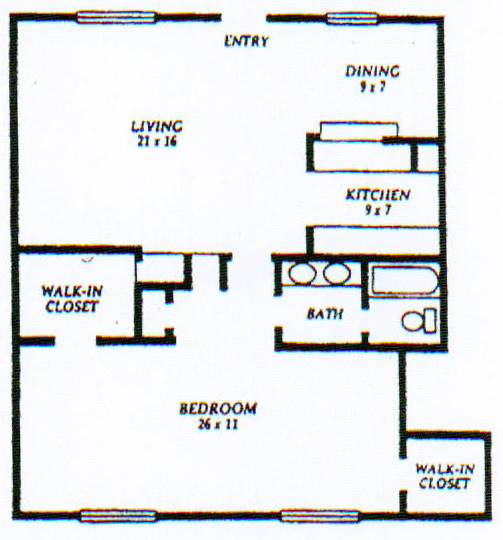 1,250 sq. ft. F floor plan