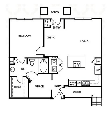 912 sq. ft. A4.2G floor plan