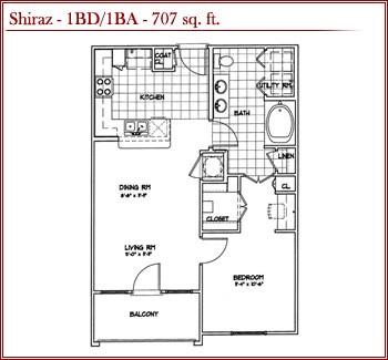 707 sq. ft. SHIRAZ floor plan