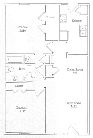 889 sq. ft. Primrose floor plan