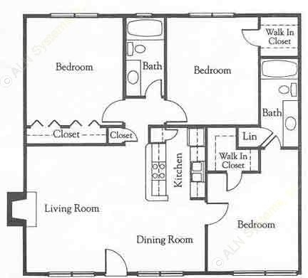 1,069 sq. ft. C1 floor plan