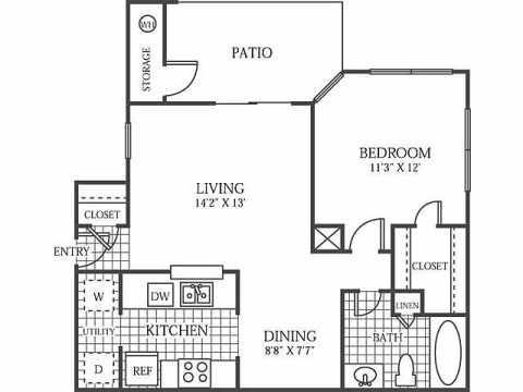 669 sq. ft. A3 floor plan