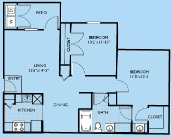 881 sq. ft. Tierray floor plan