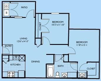 881 sq. ft. Tierray floor plan