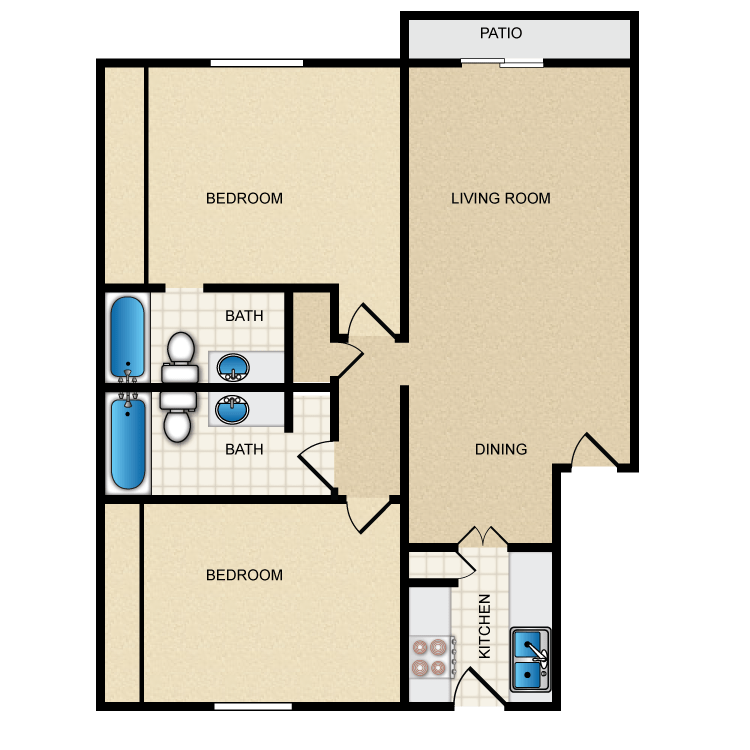 978 sq. ft. II-B2 floor plan