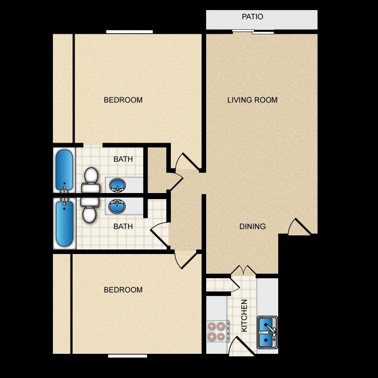 978 sq. ft. II-B2 floor plan
