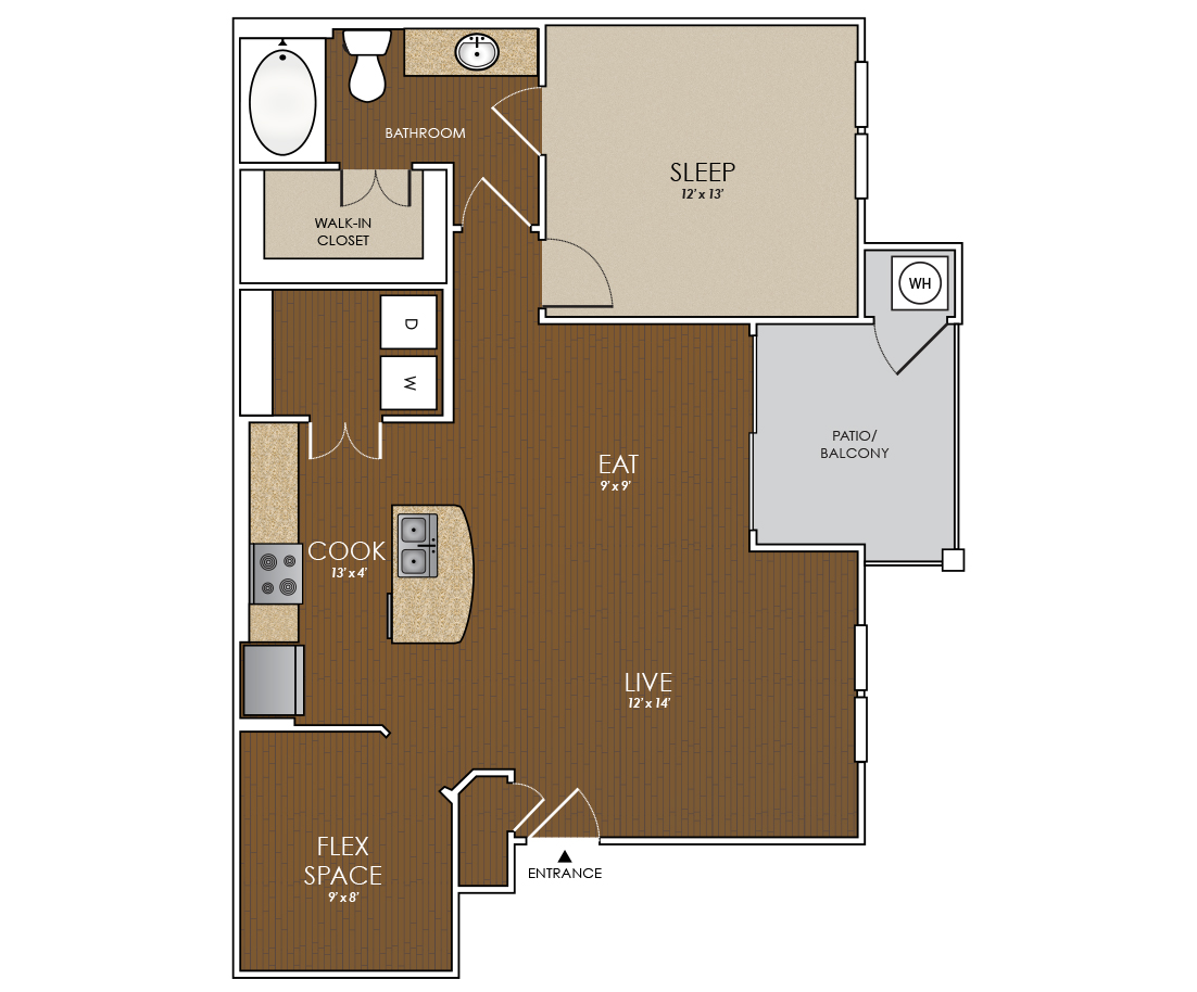 899 sq. ft. Pecan floor plan
