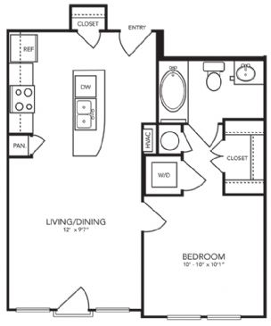 593 sq. ft. A1-1 floor plan