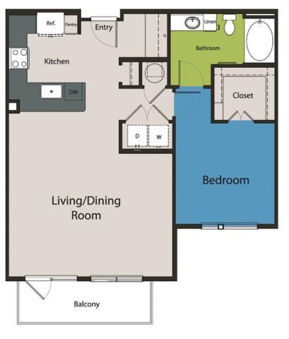 889 sq. ft. A6 floor plan