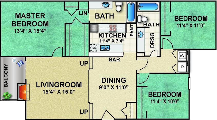1,356 sq. ft. X3 floor plan