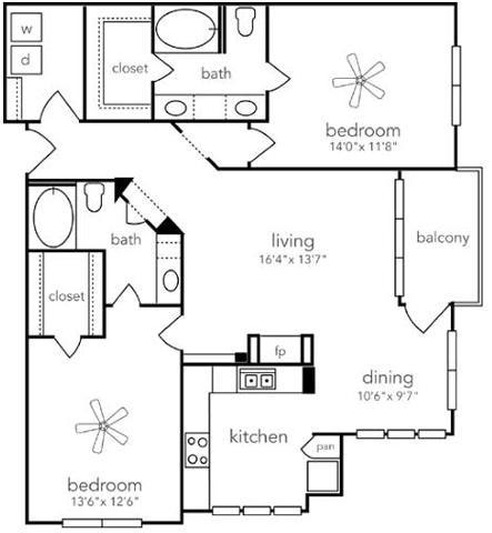 1,289 sq. ft. B3-GAR floor plan