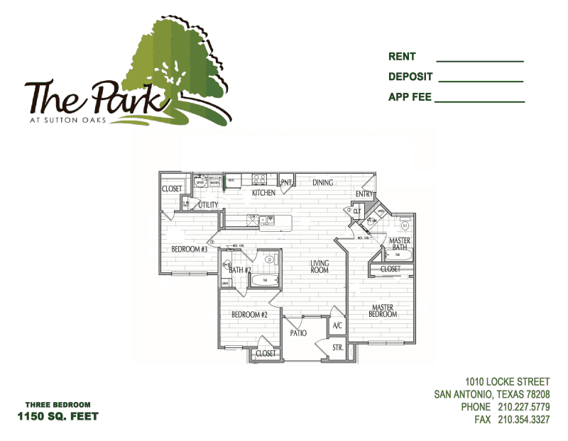 1,160 sq. ft. MKT floor plan