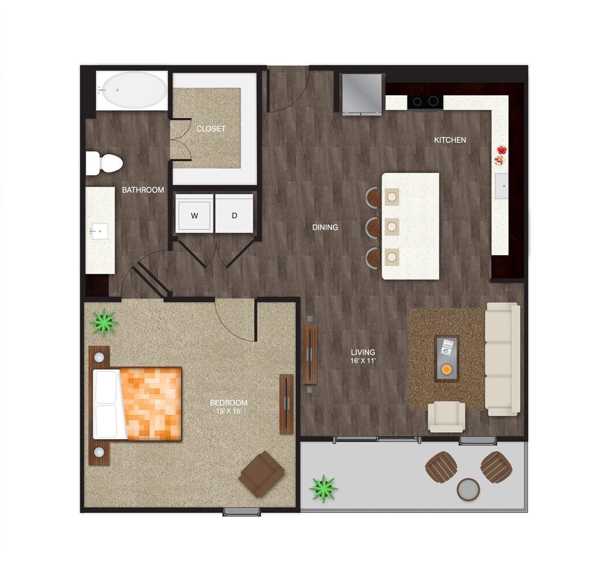 936 sq. ft. A-4A floor plan