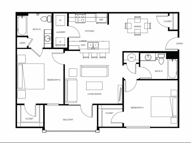 1,049 sq. ft. B2 floor plan