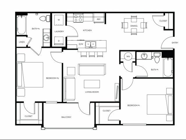 1,049 sq. ft. B2 floor plan