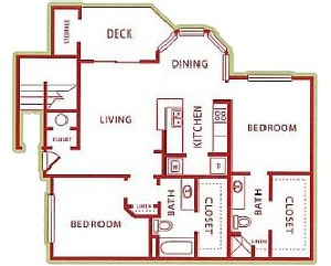 1,055 sq. ft. B2 floor plan