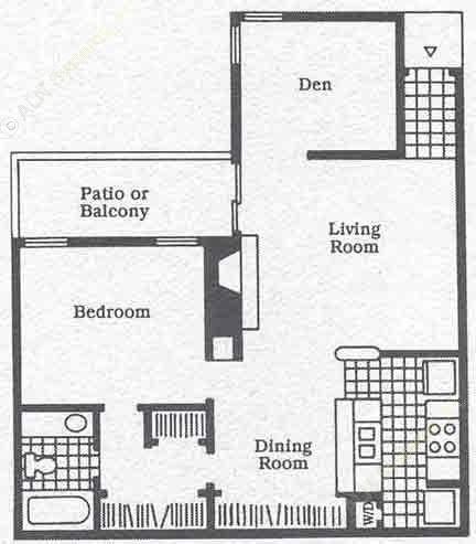 862 sq. ft. A6 floor plan