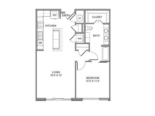 827 sq. ft. Canton floor plan