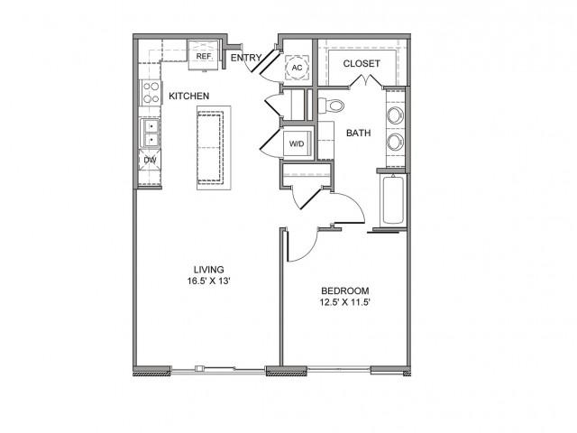 827 sq. ft. Canton floor plan