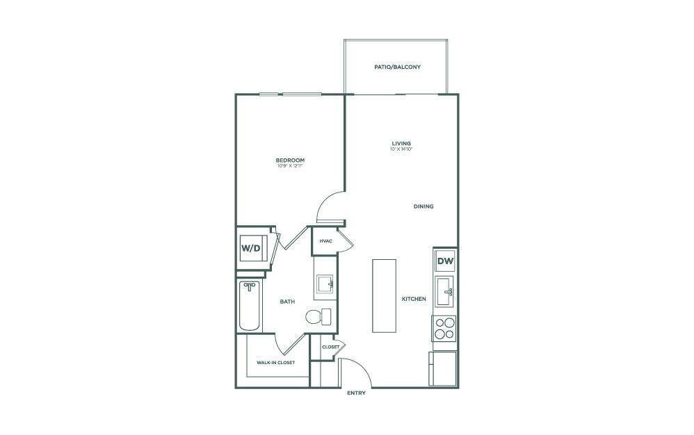 642 sq. ft. A1 floor plan