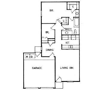 927 sq. ft. to 1,100 sq. ft. DUPLEX floor plan