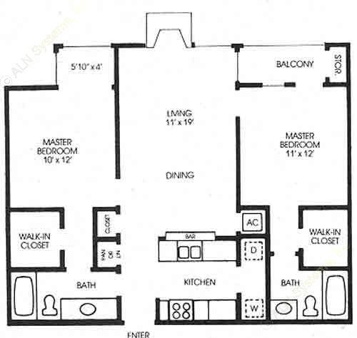 959 sq. ft. Oak - Classic floor plan