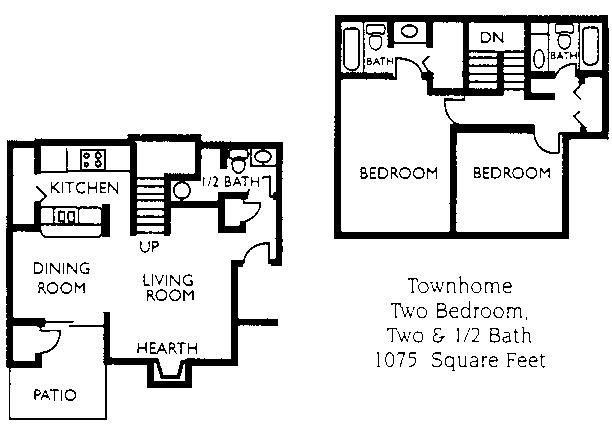 1,075 sq. ft. B4 floor plan