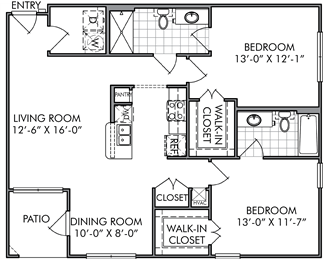 1,101 sq. ft. B1 floor plan